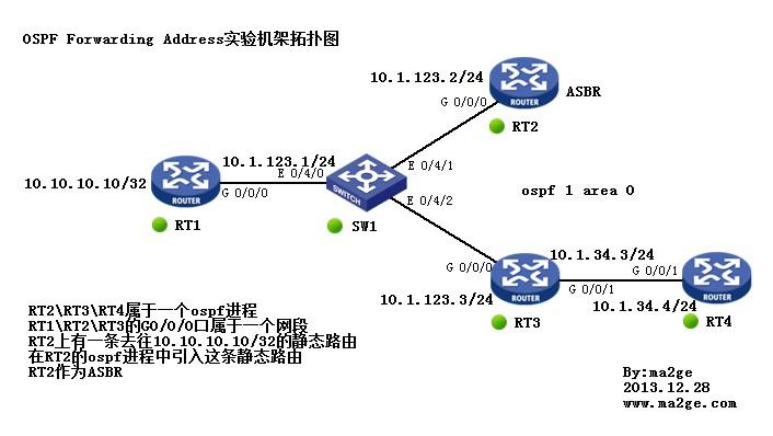 ospf forwarding address 实验配置